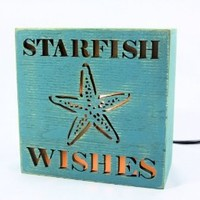 Beach Themed Lighted Desk and Table Box Lamp - Starfish Wishes (#4)