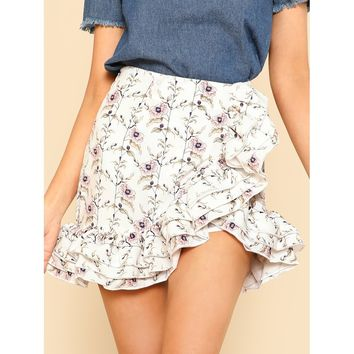 Layered Ruffle Trim Botanical Skirt