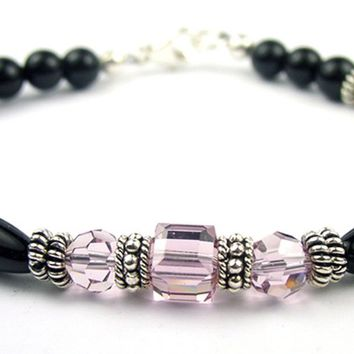 Black Onyx Bracelet w/ Simulated  Purple Alexandrite in Swarovski Crystal Birthstone Colors