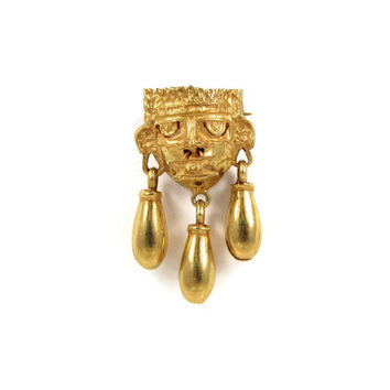 18K Gold Pin - Vintage Aztec Tribal Mask Brooch, Pre-Columbian Warrior Deity Xipe Totec, Nose Ring Ornament, Bell Dangles, Oaxaca