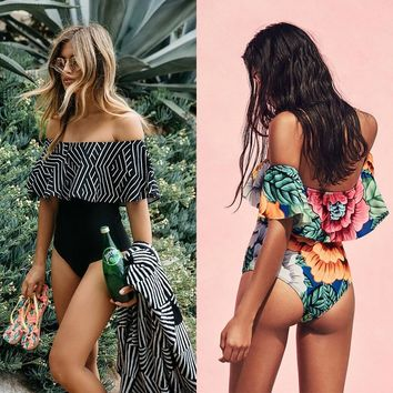 Swimsuit Women 2019 One Piece Ruffle Swimwear Female One-Piece Suits Bathing Suit Maillot Padded Miao Beach Bathers Summer