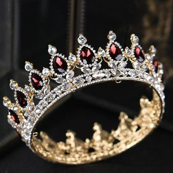Baroque Vintage Gold Hair Jewelry Red Crystal Tiaras And Crown For Wedding Women Bride Queen King Hair Accessories Show Ornament