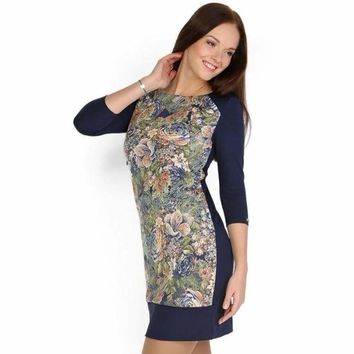 """""""Camilla"""" Maternity and nursing dress with blue and beige flowers"""