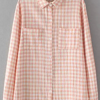 Plaid Long Sleeve Blouse with Pocket