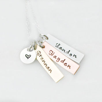 Hand Stamped Jewelry - Mixed Metal - Personalized Necklace - Name Necklace - Hand Stamped Jewelry - Mothers Day