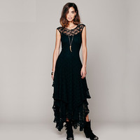 Lace Asymmetrical Short-Sleeve Dress