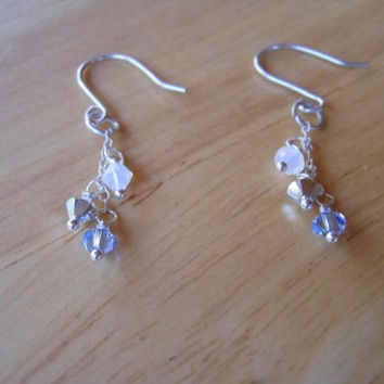 Blue and White Earrings with Swarovski Bicones and SS Findings