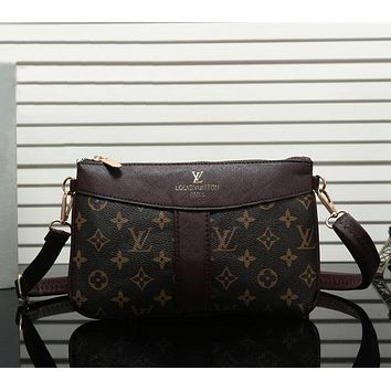 Louis Vuitton Women Leather Satchel Shoulder Bag Handbag Crossbody