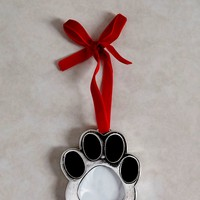 Dog Paw Photo Frame Christmas Tree Decoration (8cm x 7cm) - Matalan