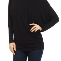 Long Dolman Sleeve Jersey Knit Tunic Top