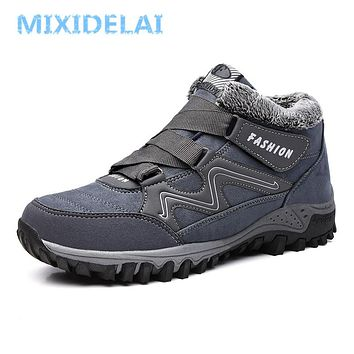 MIXIDELAI Men Boots Winter With Plush Warm Snow Boots Casual Men Winter Boots Work Shoes Men Footwear Fashion Ankle Boots 39-44