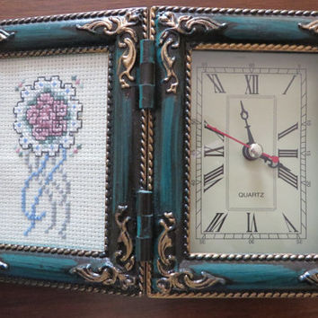 Vintage Quartz Desk Clock with Cross Stitch Flower