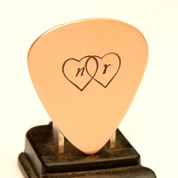 Two Hearts with Personalized Initials Copper Guitar Pick Handcrafted with Love