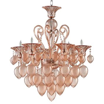 Cyan Design Bella Vetro Murano Glass 8 Light Chandelier | Pink