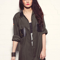 Exclusive Love Vintage Renewal Military Over Shirt with Faux Leather and Spike Cross Detail in Green