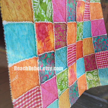 "Rag quilt throw with bright batiks in tropical aqua, pink, orange, green, yellow rag quilt 54""x63"""