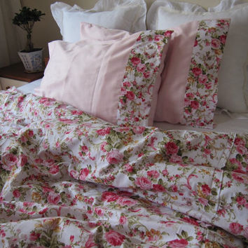 DORM bedding fast EXPEDITED Shipping Pink red roses floral print Twin XL duvet cover with ruffle pillow cases girls dorm