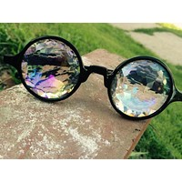Stylish Trending Personality Kaleidoscope Fireworks Concert Mosaic Glasses Street Model Performance Sunglasses Black Frame