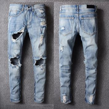 KANYE WEST 1:1 Fear of god Knee Hole Side Zipper Slim Distressed Jeans Men justin bieber Ripped tore up Jeans For Men pants