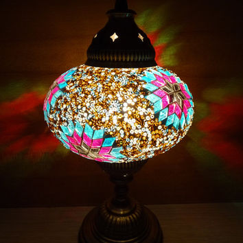 Turkish handmade unique colourful glass mosaic authentic decorative table lamp, bedroom night lamp, bedside lamp, kid's room light.