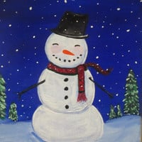 Winter Painting, Christmas Decor, Cute snowman on canvas