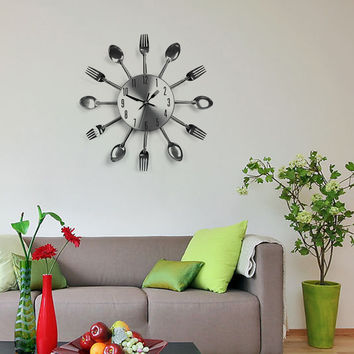 Modern Large Wall Clock Sliver Cutlery Kitchen Utensil Clock Spoon Fork  Mirror Wall Stickers Mechanism saat Horloge Murale
