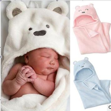 SR099 New Arrival 2016 Hot Baby Blankets Newborn Kids Baby Blanket Baby Wrap Boy & Girl Toddler Coral Fleece Bear Sleeping Bag