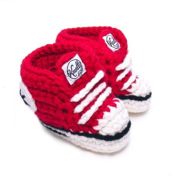Crochet Baby Booty Red Slippers Sneakers Chuck Taylors
