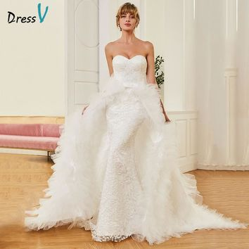 Dressv Long Sweetheart Mermaid Wedding Dress Floor Length Sleeveless Watteau Train Lace Tulle Bowknot Princess Wedding Dresses