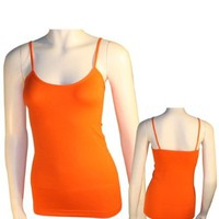 Women's Basic Stretch Camisole Tank Top Spaghetti Strap Long Plain Cami Orange:Amazon:Office Products