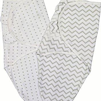 Ely's & Co Swaddle Blanket Adjustable Infant Baby Wrap Set 2 Pack (0-3 Months, Grey Chevron and Polka Dots)