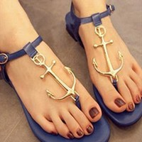 Flat Sandals with Anchor Embellishment Blue GNM634