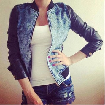 Women Fashion Spring/Autumn European Style Long Leather Sleeve Denim Jeans Zipper Coat Jacket Outerwear Tops = 1929649988