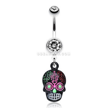Vibrant Mayan Tribal Skull Belly Ring (Clear/Rainbow)
