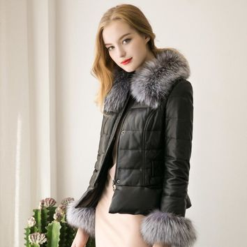 2016 New Winter ParkaFaux Fur Coat  Fur Collar Zipper Coat Quilted Jacket Coat Sexy Black Slim women fur coats   S-3XL