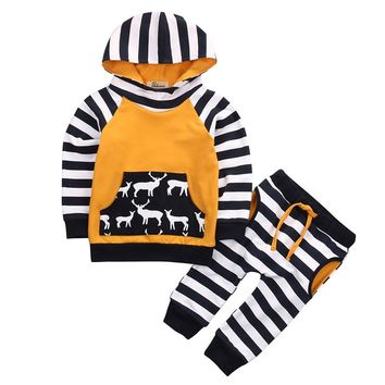 pudcoco 2pcs Toddler 0-2Y Baby Boy Kids clothes set cotton blend deer stripe printed hooded Tops+Pants cool bebe child Outfits