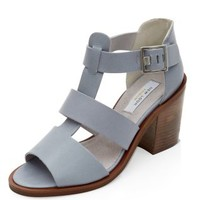 Grey Premium Leather Cut Out Block Heels