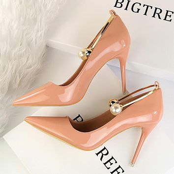 Beads PU Stiletto Heel Pointed Toe High Heels Party Shoes