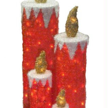 4 Christmas Candle Yard Art - 140 Clear Mini Lights