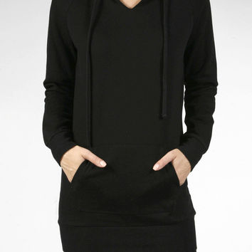 Women Long Sleeve Long Pullover Hooded Sweatshirt Fleece Hoodie Tunic Dress Top