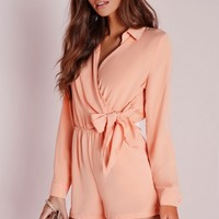 Missguided - Wrap Front Shirt Playsuit Nude