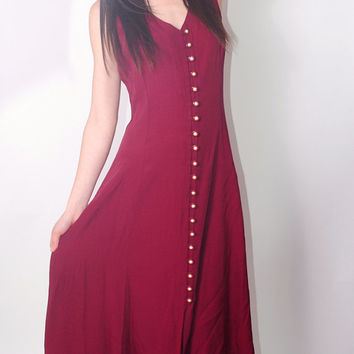 Vintage 1990s maroon red button down sleeveless pearl button grunge back tie maxi dress