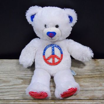 Build A Bear Workshop 2010 Peace Sign Teddy Bear Plush Red White Blue 17 inch