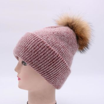 winter 15cm raccoon fur ball wool knitted hat women rabbit fur acrylic cap lady mix color warm ski beanies skullies 2017 newest