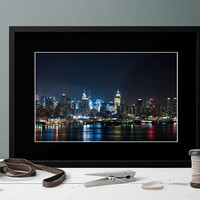 New York Skyline at Night Large Print. NYC Skyline Photography. Large New York City Art Work. Architectural Art.  NYC ART