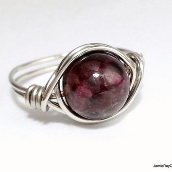 Tourmaline Ring, Silver Wire Wrapped Ring, Burgundy Gemstone Ring, Bohemian Boho Hippie Ring Jewelry, Purple Stone Ring Chunky Statment Ring