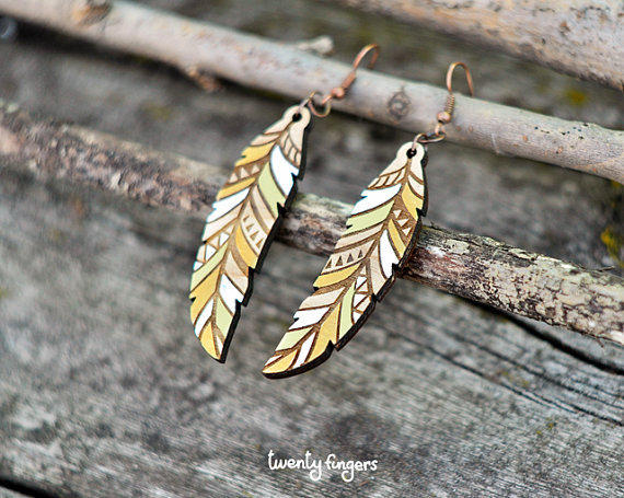 craft ideas with feathers wood earrings feather laser cut by from 3974
