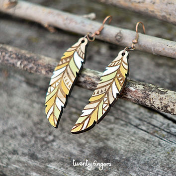 Wood native earrings  feather laser cut by TheTwentyFingers
