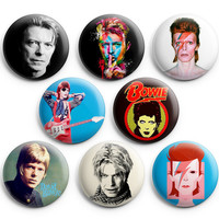 David Bowie Pinback Buttons Badge 1.25 inches (Set of 8 ) Changes Ziggy NEW