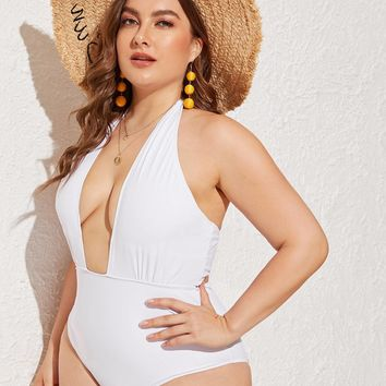 Plus Ruched Plunge Halter One Piece Swimsuit